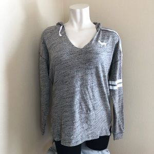 PINK VS grey spacedye v-neck hoodie lightweight L